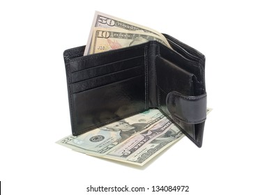 brown leather purse with money lying on a white background