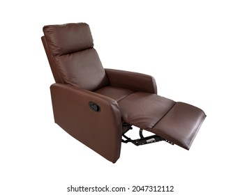 Brown Leather recliner chair on isolated white background