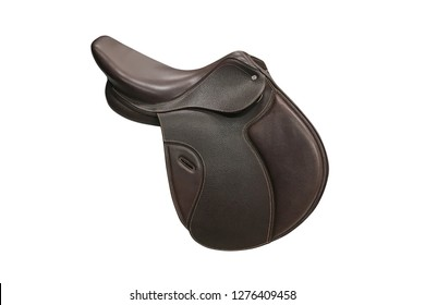 brown leather saddle for a rider isolated on white background