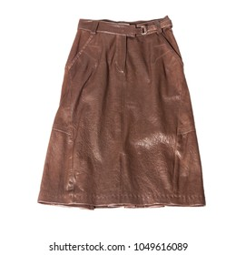 the brown leather skirt isolated on white