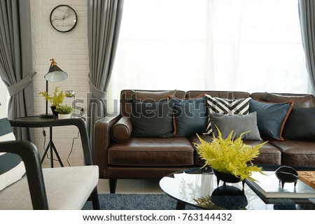 Brown Leather Sofa Blue Cushions Modern Stock Photo (Edit Now ...