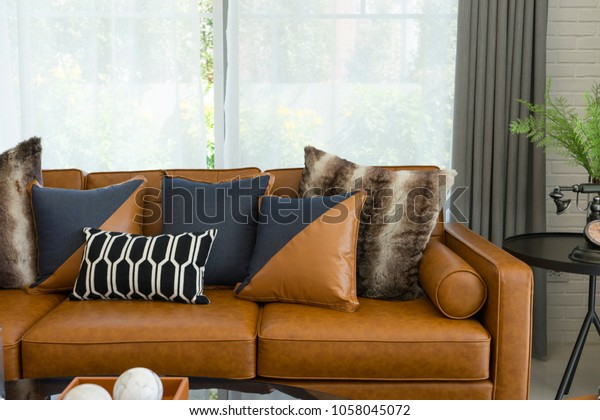 Brown Leather Sofa Decorative Pillows On Stock Image ...