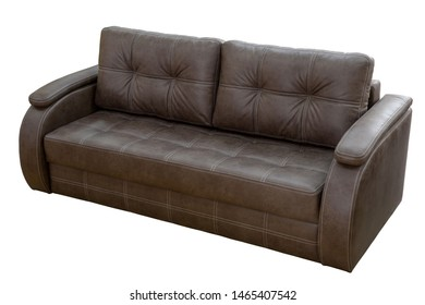 brown leather sofa isolated on white background