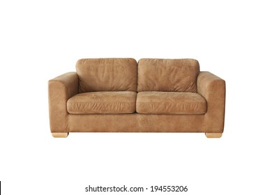 Brown leather sofa isolated on white background with clipping paths