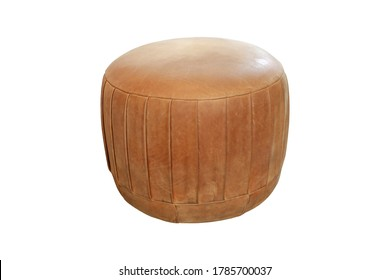 Brown leather stool furniture isolated on white background.