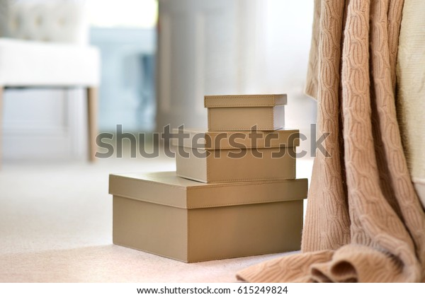 Brown Leather Storage Boxes Bedroom Stock Photo (Edit Now ...