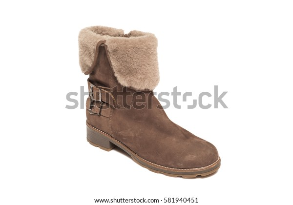 Brown leather suede high boot isolated on white background