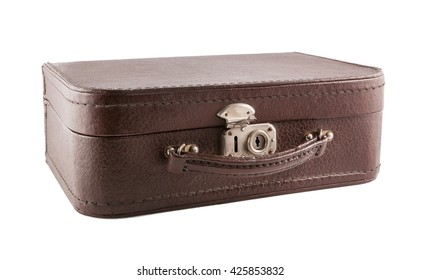 Brown leather suitecase on white background