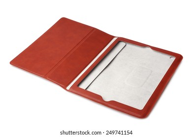 Brown leather tablet computer case on white background