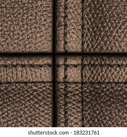 brown leather texture closeup,seams Fragment of leather bag
