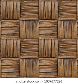 brown leather texture of rattan with natural patterns. 3d rendering.