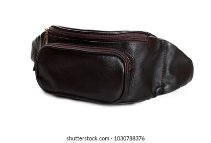 brown leather waist bag isolated on white background