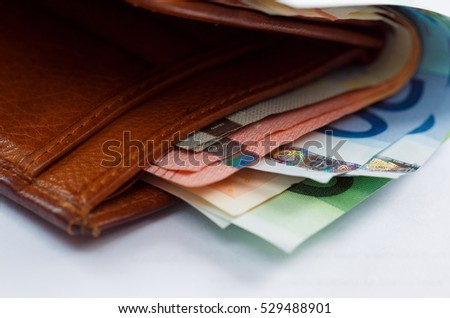 brown leather wallet money euro inside stock photo edit now