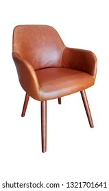 Brown leatherette chair on white background
