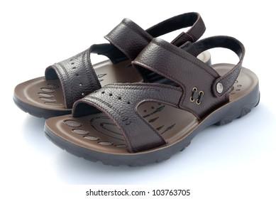 brown leisure sandal on white