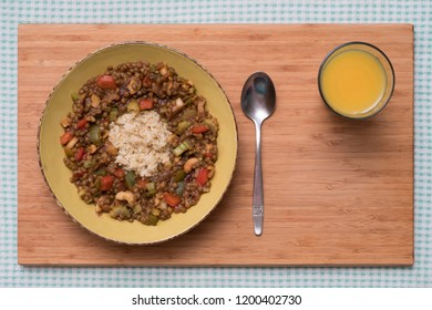 Brown Lentil Daal, Bell Pepper and Cashews with Rice