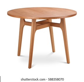 Brown, light brown wooden round dining table. Modern designer, dining table isolated on white background. Series of furniture.