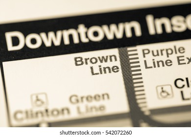 Brown Line Station. Chicago Metro map.