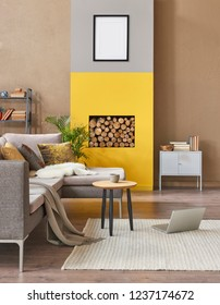Brown living room and yellow wall room with fireplace and wood decor. Living room style.