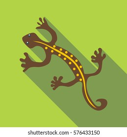 Brown lizard icon. Flat illustration of brown lizard  icon for web