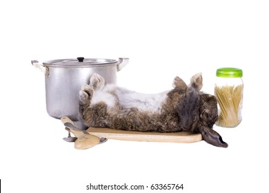 Brown lop-eared rabbit breeds Ram on the chopping board. In the Oriental calendar 2011 - the year of rabbit.
