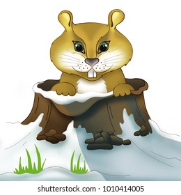 Brown lovely groundhog. Cute fluffy cartoon animal character. Symbol of spring, sign, logo of Groundhog Day. Print design, winter banner, greeting card