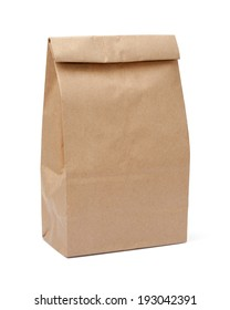 Brown Lunch Bag isolated with a clipping path, on a white background.