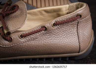 brown luxury handmade man leather shoes close up