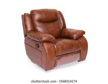 Brown luxury leather recliner sofa in isolate white background