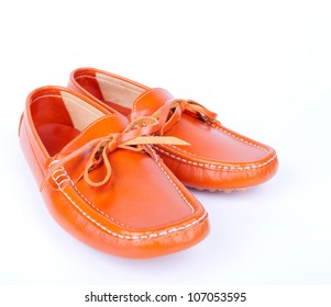 Brown man's shoes isolated on white background