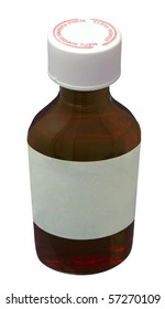 A Brown medicine bottle with a blank label isolated on a white background