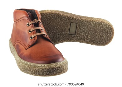 Brown men's autumn leather shoes isolated on white background