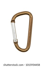 Brown metal aluminum snap hook isolated on white background. Safety lock carabiner for rope climbing