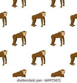 Brown monkey standing on its four legs pattern seamless for any design  illustration