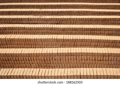 brown mud bricks stacked together for wind drying in Sri-Lanka