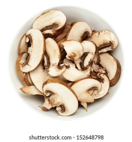 Brown mushrooms in bowl on white background