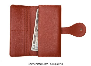 Brown natural leather wallet with money isolated on white background. Expensive woman's purse closeup. Wallet filled up with money