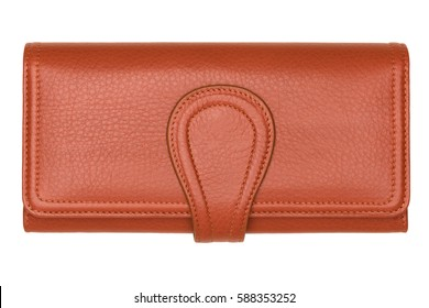 Brown natural leather women wallet isolated on white background. Expensive woman's purse closeup