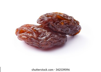 Brown natural seedless raisins from California. Sun-dried untreated grapes. Retouched, large depth of field