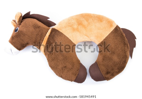 brown neck pillows isolated on white background.brown horse pillow isolated