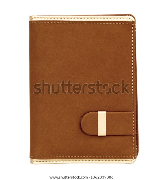 Brown Note Book  daily planner isolated on the white background
