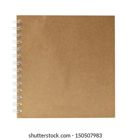 Brown note book isolated on white background