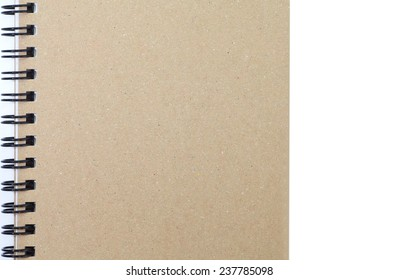 Brown  notebook cover isolated on white background