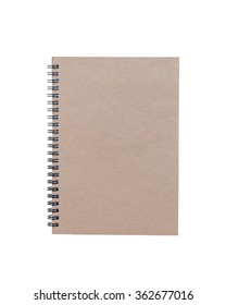 brown notebook front cover isolated on white background.