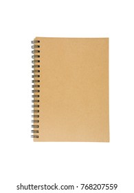 Brown notebook isolated on white background.