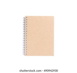 Brown notebook on a white background. top view