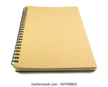 Brown notebooks on white background