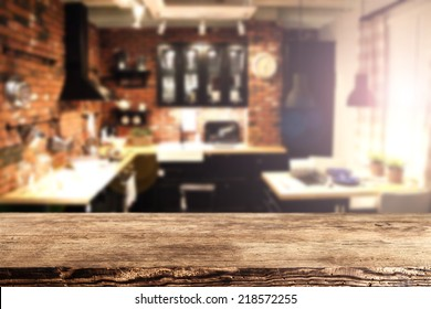 brown old desk in kitchen place and blurred