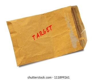 """Brown old envelope stamp """"target"""" isolated on white background"""