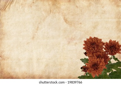 Brown old paper background with red flowers.